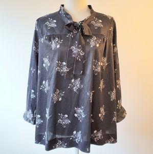 Vintage secretary blouse zipper back 2x